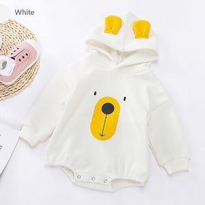 Bear Face Printed Hoodie Baby Romper White